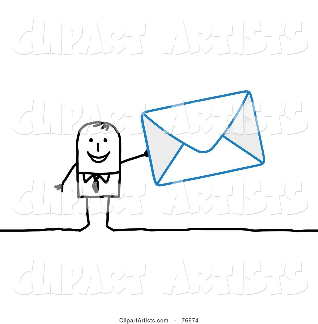 Stick People Character Man Holding an Envelope