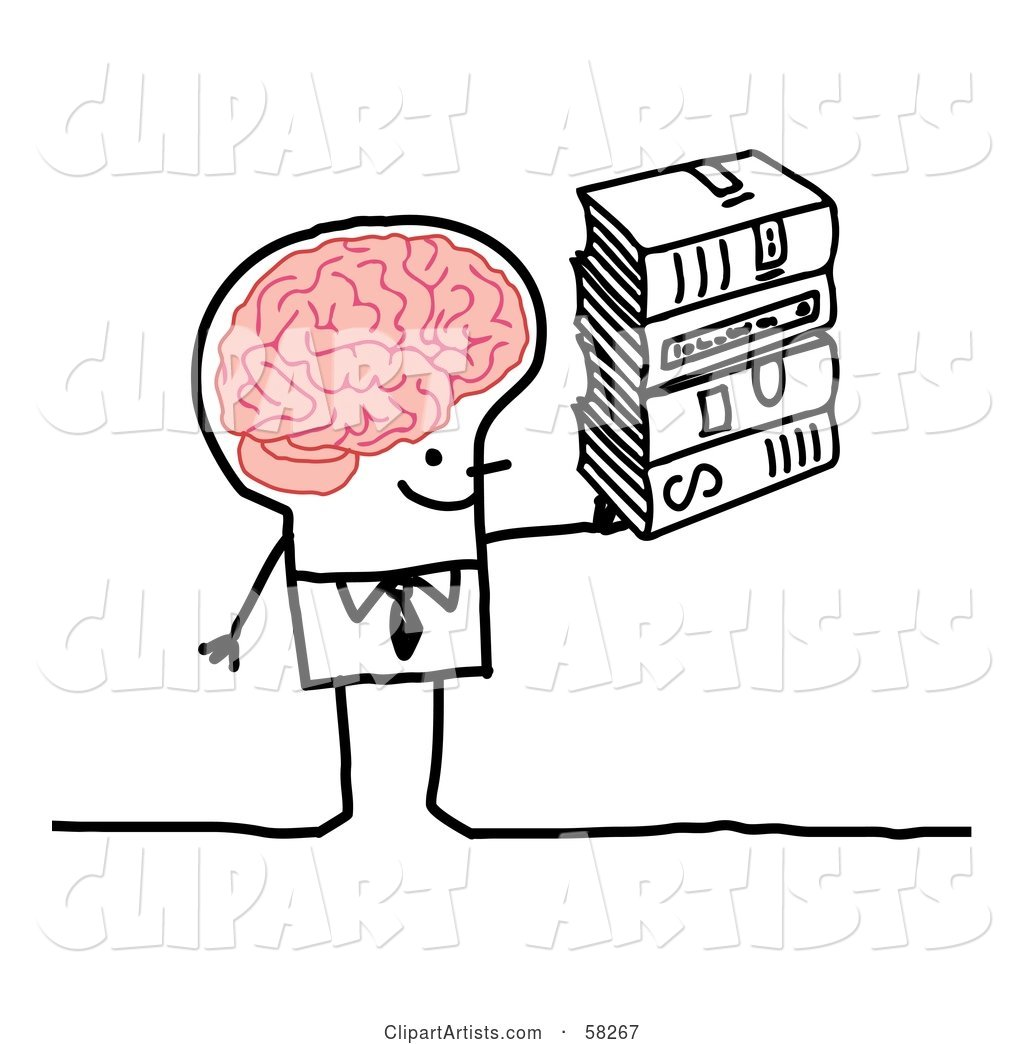 Stick People Character Man with a Big Brain, Carrying Books