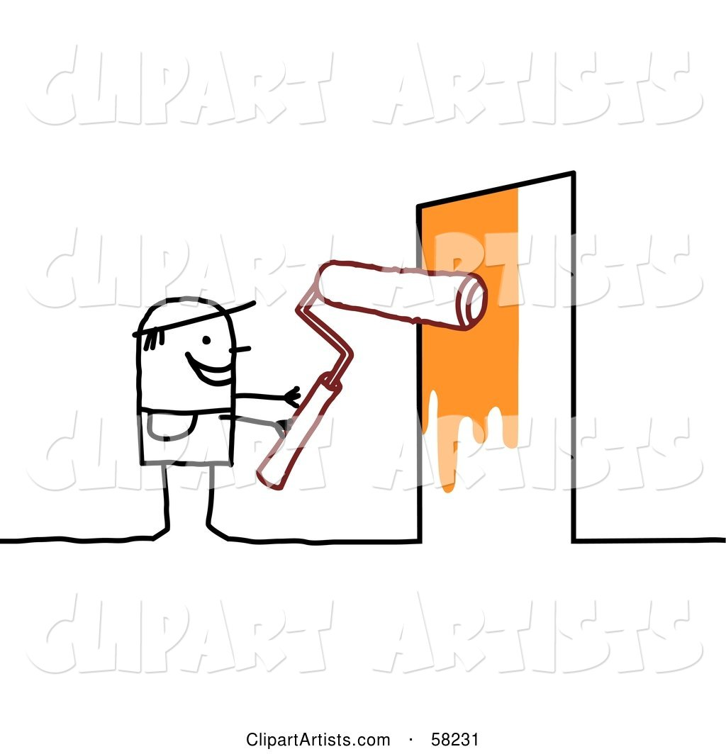 Stick People Character Painting a Door