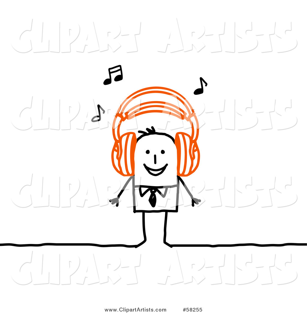 Stick People Character Wearing Music Headphones