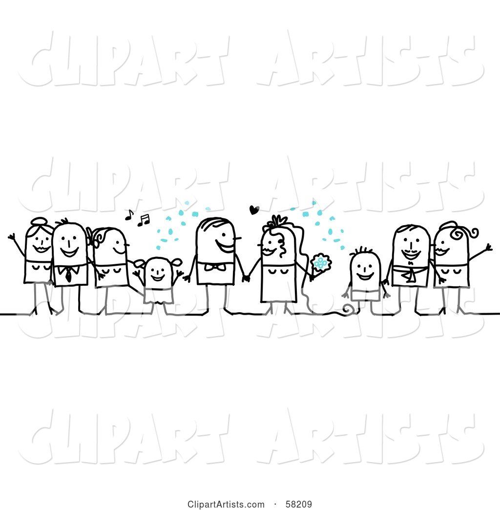 Stick People Character Wedding with the Guests Tossing Confetti