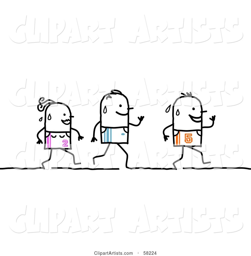 Stick People Characters Running