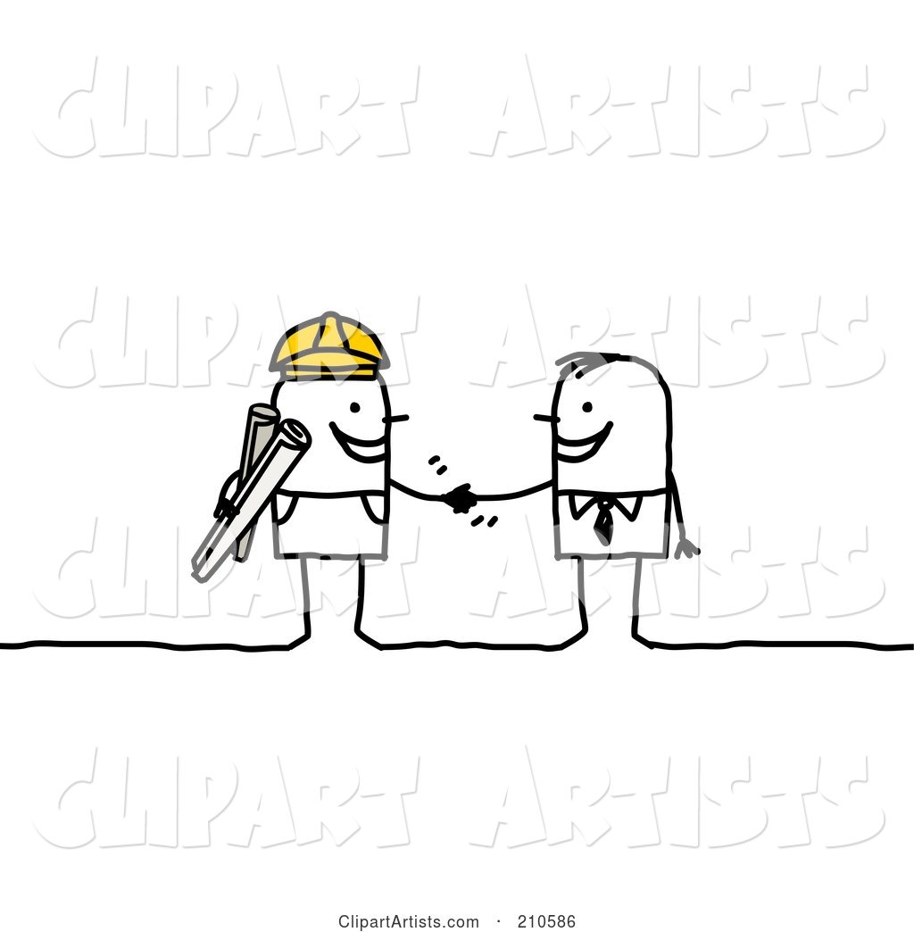 Stick Person Business Man Shaking Hands with a Contracted Builder