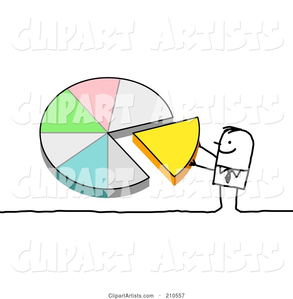 Stick Person Man Pushing a Piece of a Pie Chart into Place