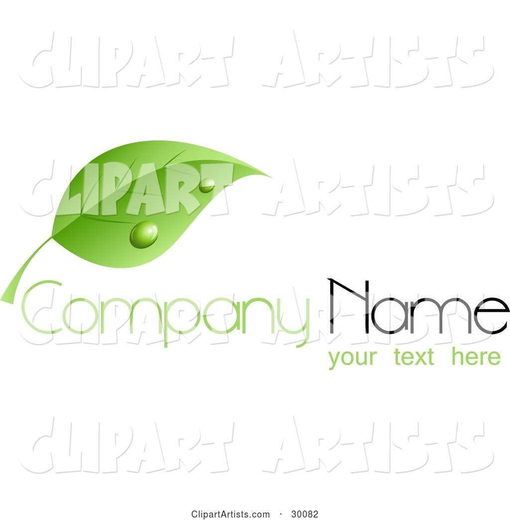 Stock Logo of a Single Green Leaf with Dew Drops, Above Space for a Company Name and Information