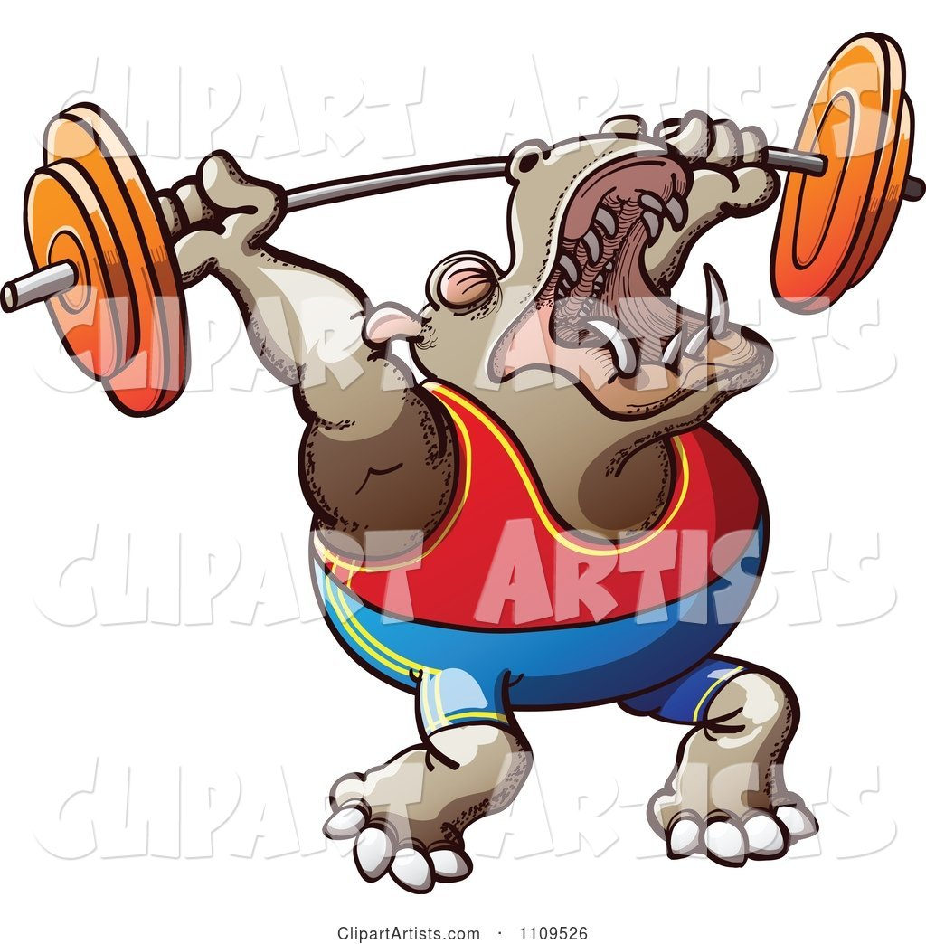 Strong Bodybuilder Hippo Weight Lifting