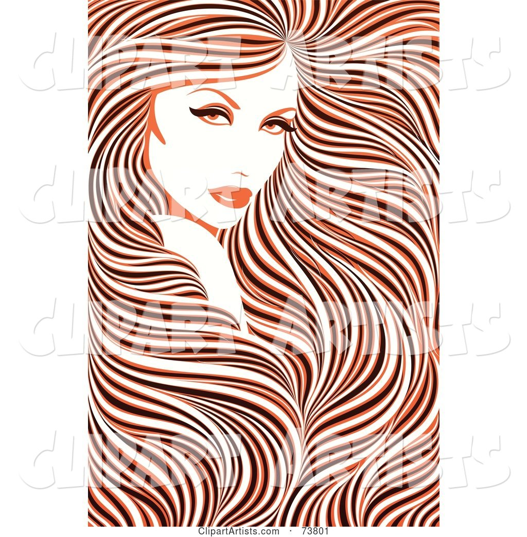 Stunning Woman with Long Hair Flowing Around Her Face - Orange, Black and White Coloring