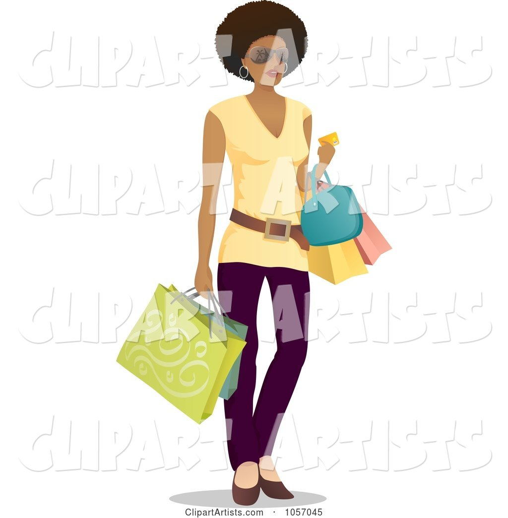 Stylish Black Woman Carrying Shopping Bags