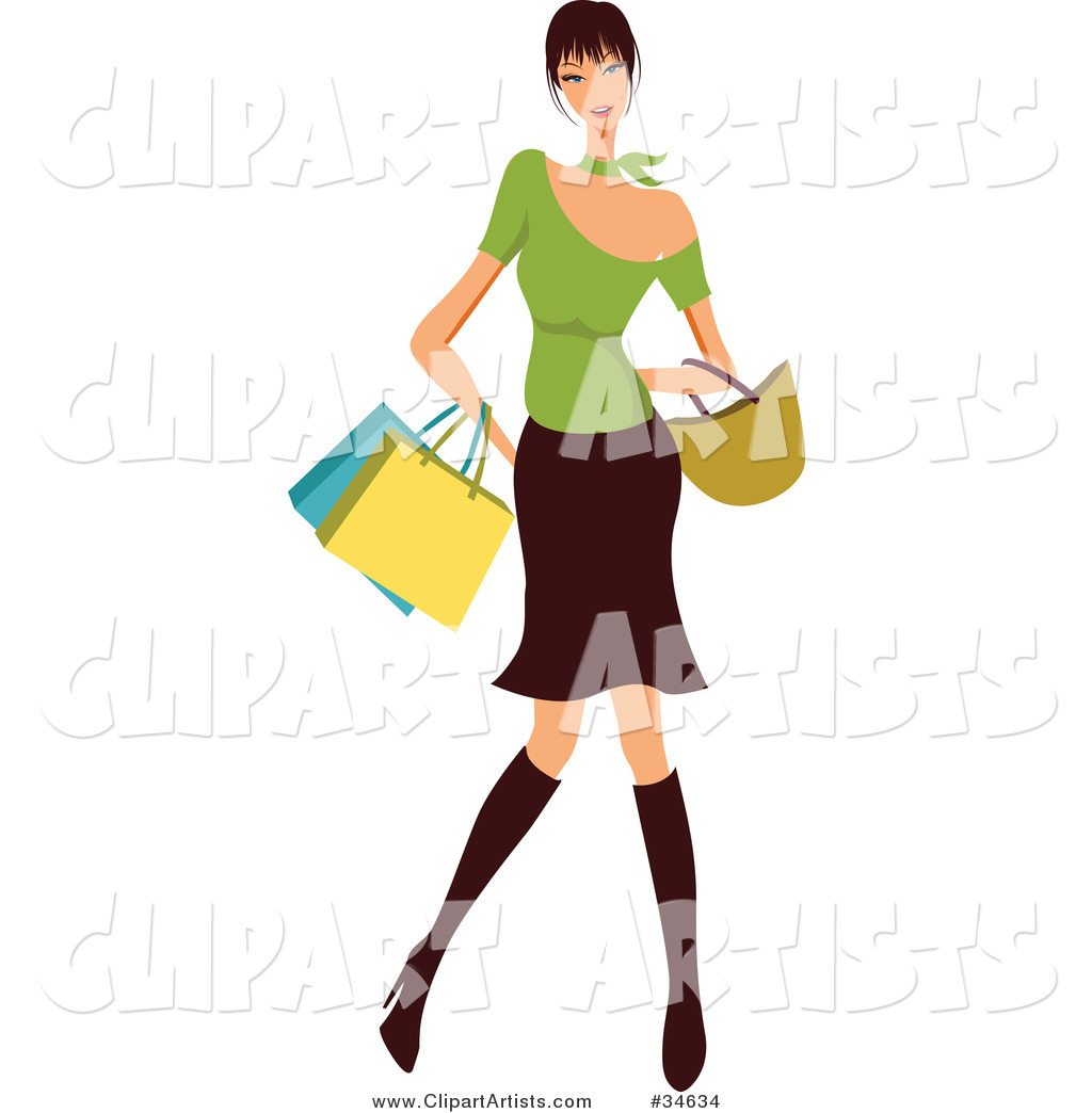 Stylish Caucasian Woman with Black Hair, Dressed in Boots, a Skirt and Green Top, Carrying Shopping Bags and a Purse