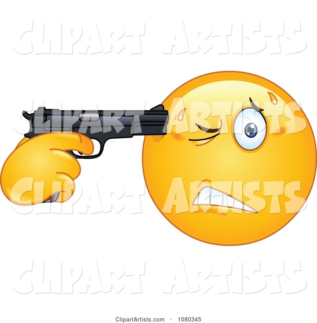 Suicidal Emoticon Holding a Gun to His Head