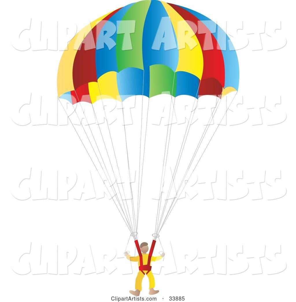 Suited Parachuter Gliding Through the Sky