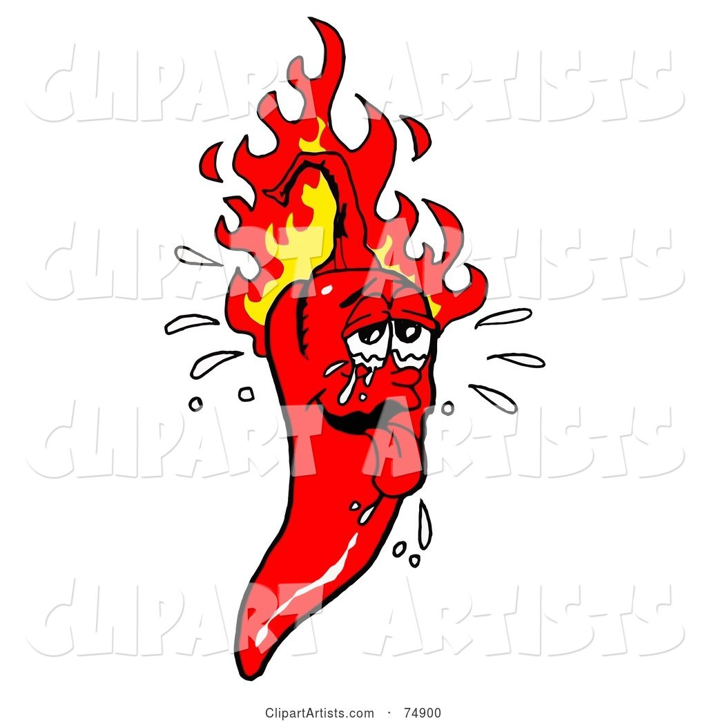 Sweaty Hot Red Pepper with Flames