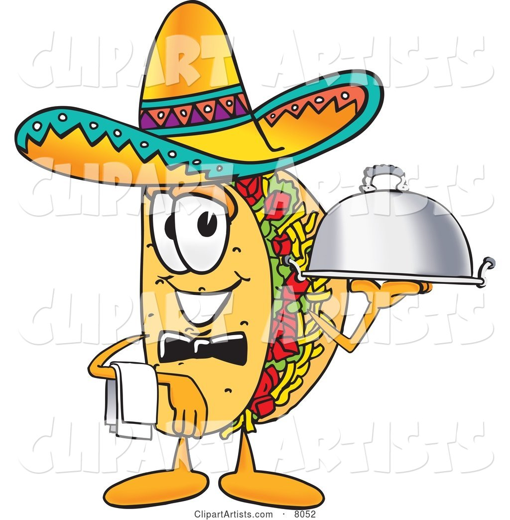 Taco Mascot Cartoon Character Dressed As a Waiter and Holding a Serving Platter