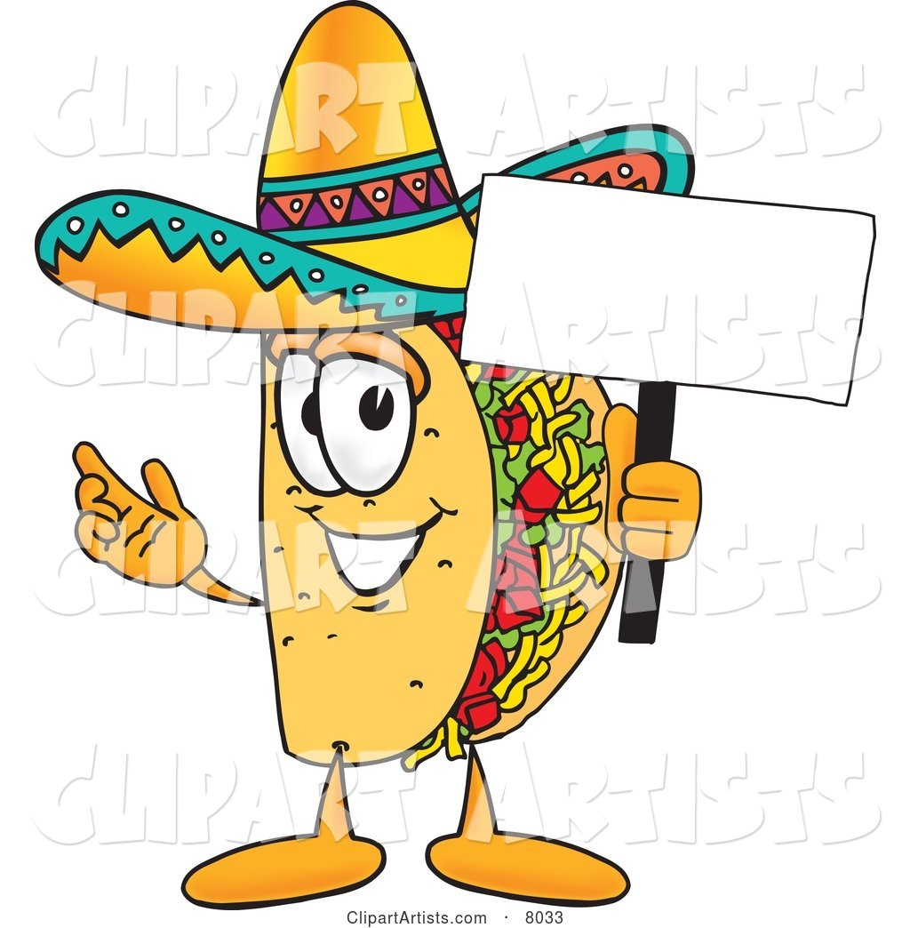 Taco Mascot Cartoon Character Holding a Blank Sign