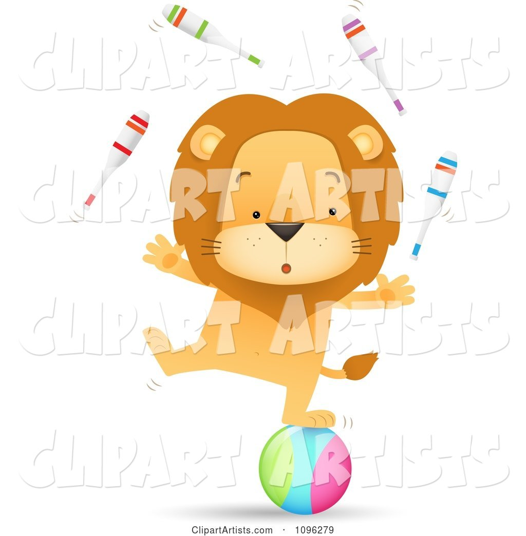 Talented Circus Lion Juggling Pins and Standing on a Ball
