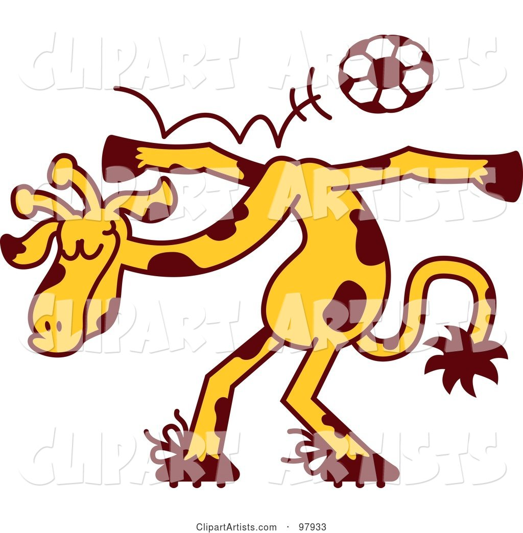 Talented Giraffe Bouncing a Soccer Ball off of His Shoulders