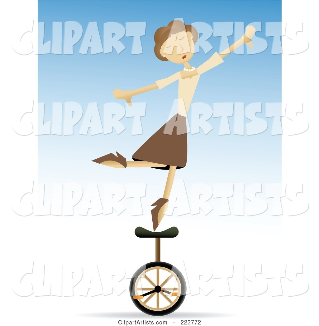 Talented Woman Balancing on One Foot on a Unicycle