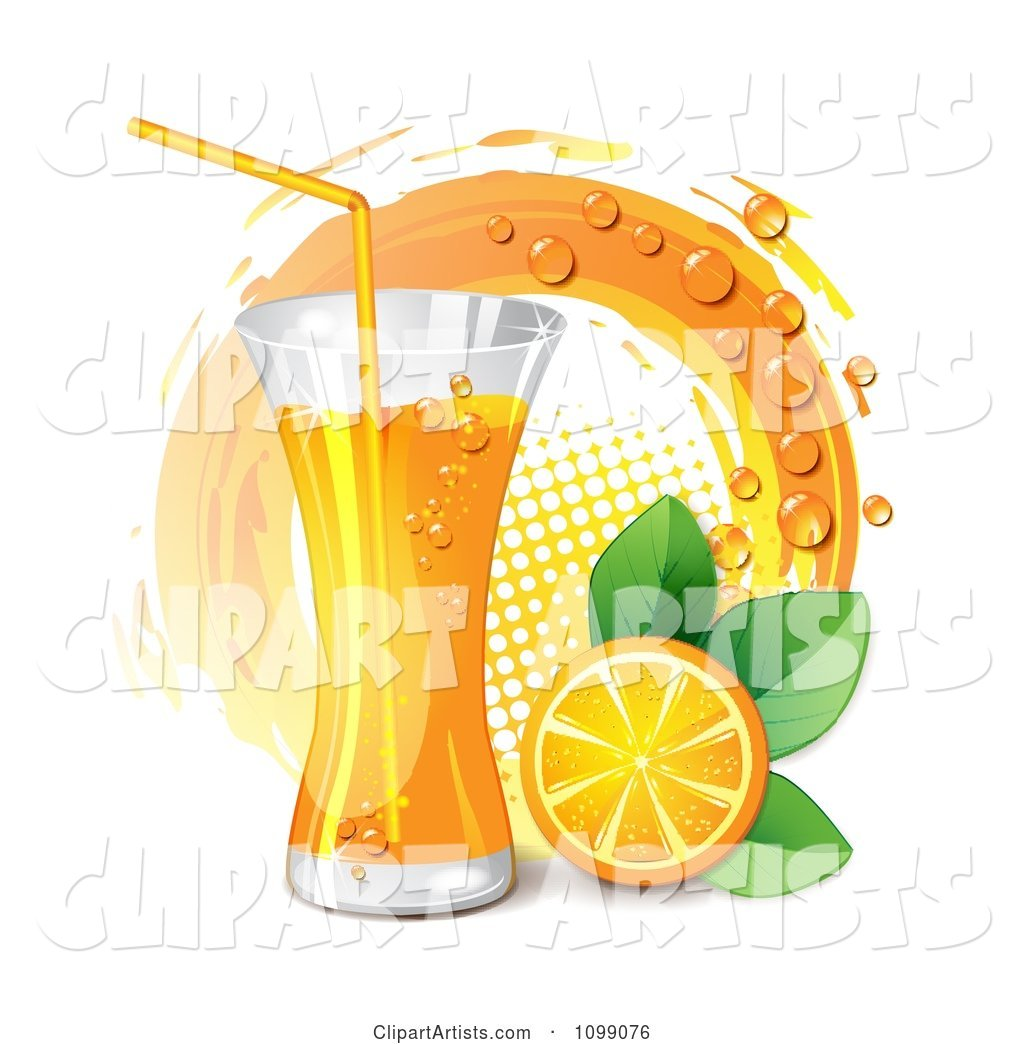 Tall Glass of Orange Juice with a Slice Leaves and Circle