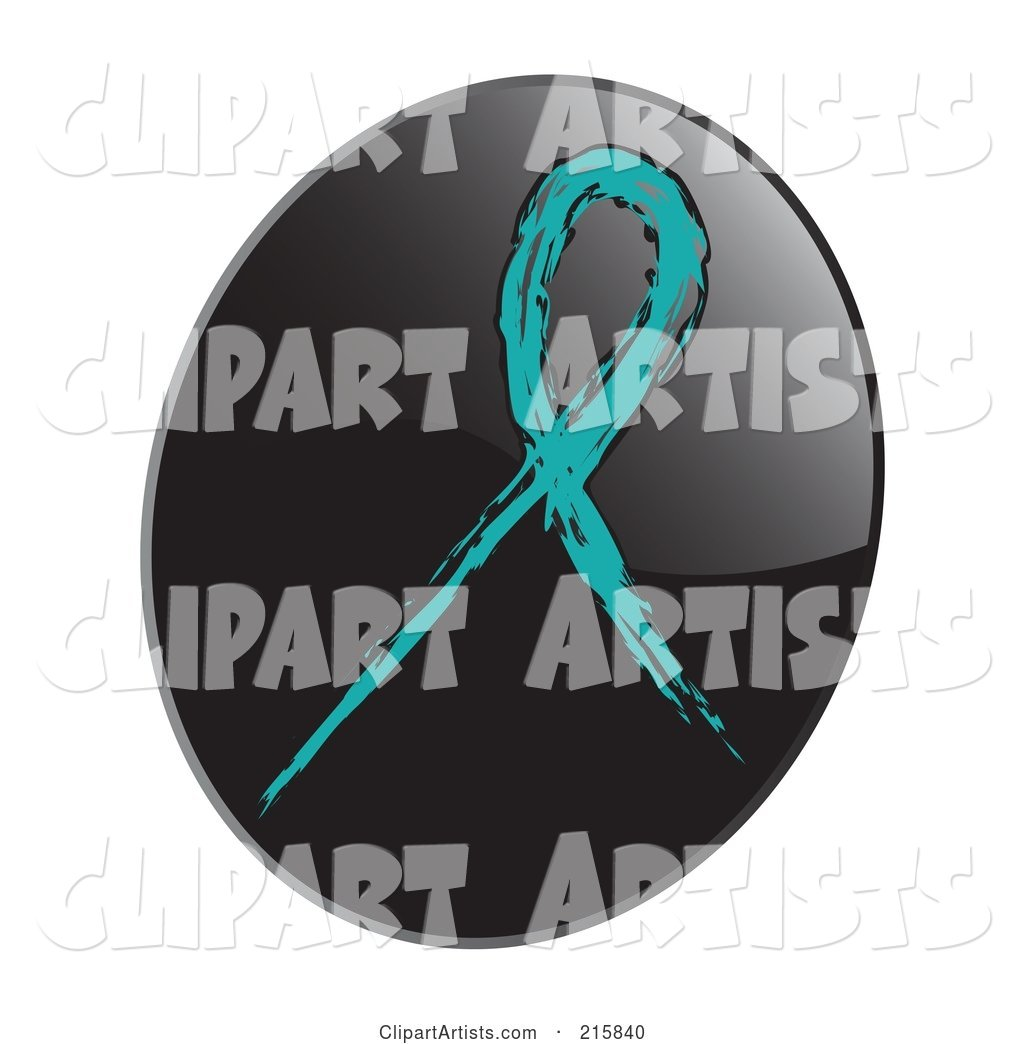 Teal Awareness Ribbon on a Shiny Black App Icon Button
