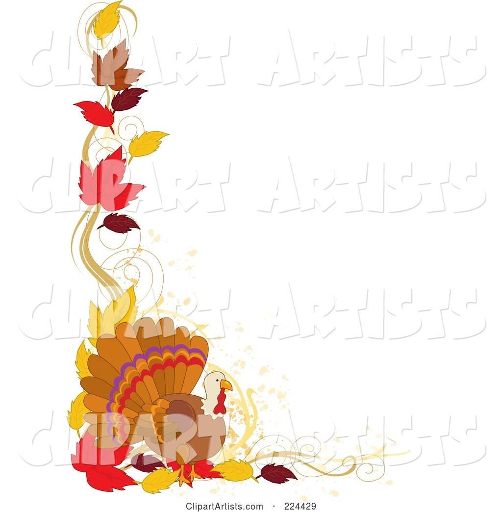 Thanskgiving Border of Autumn Leaves and a Turkey Bird