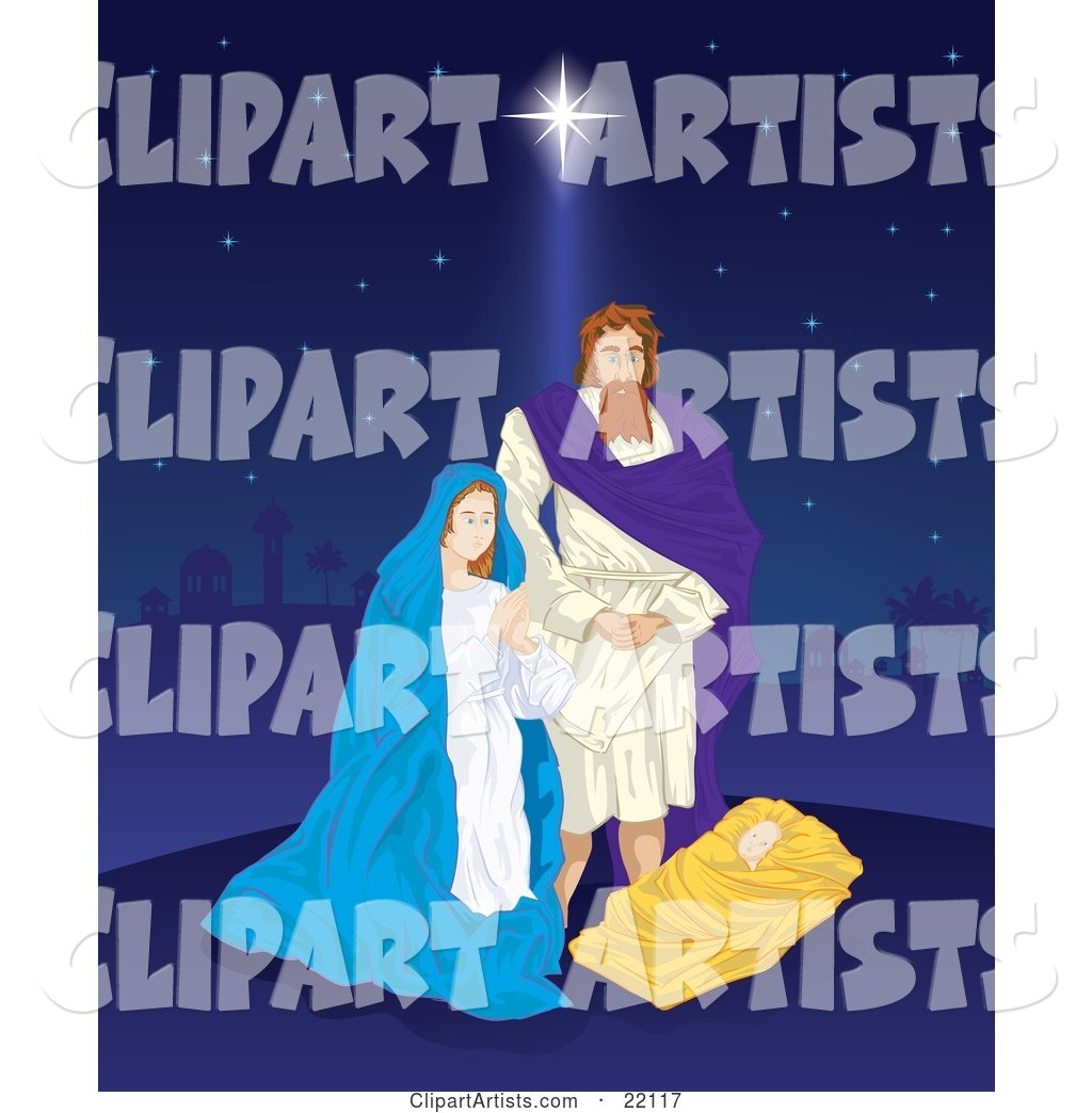 The Birth of Jesus, with Joseph and Virgin Mary Standing Above the Baby on a Starry Night Sky