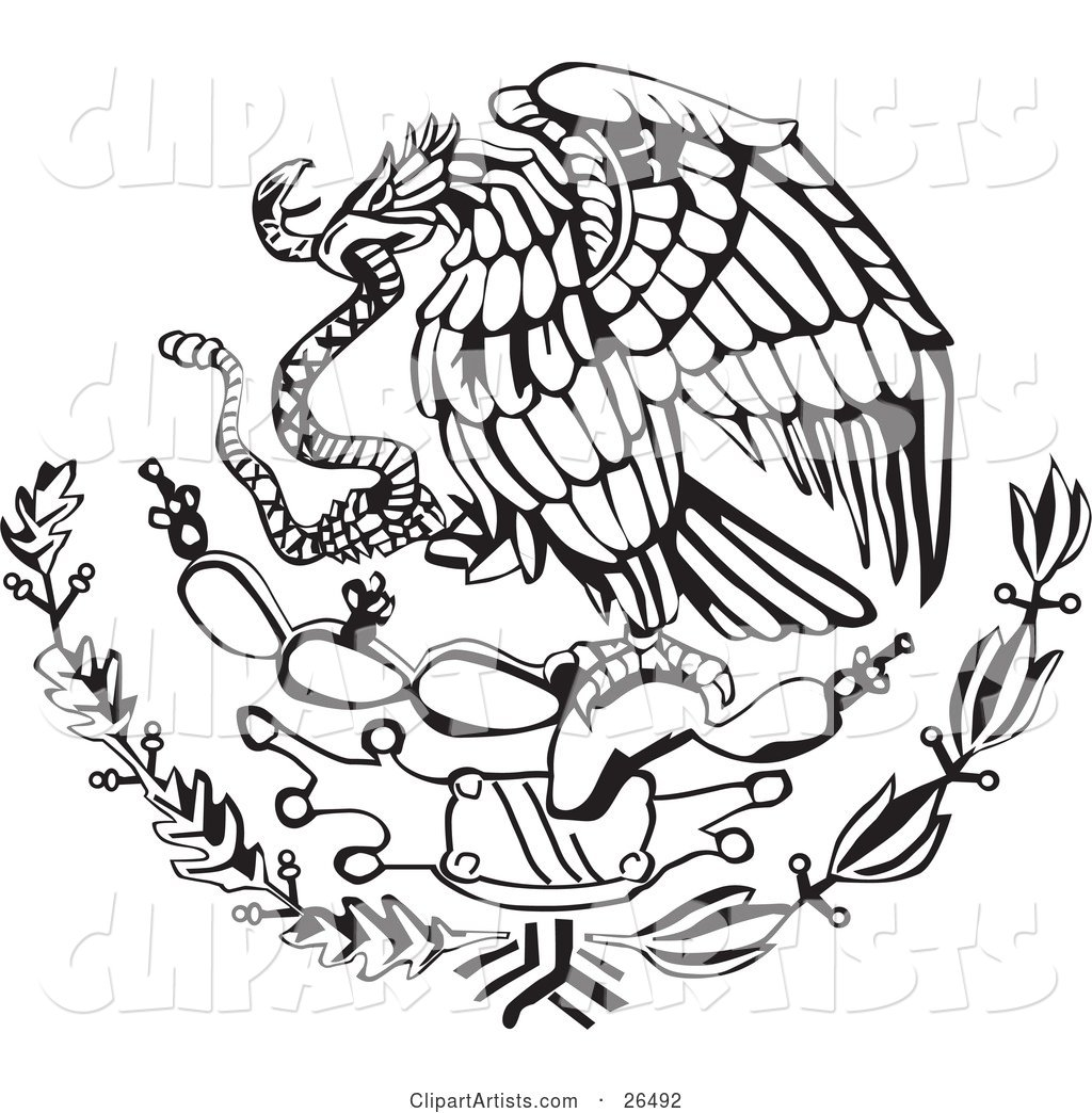 The Mexican Coat of Arms Showing the Eagle Perched on a Cactus, Eating a Snake in Black and White