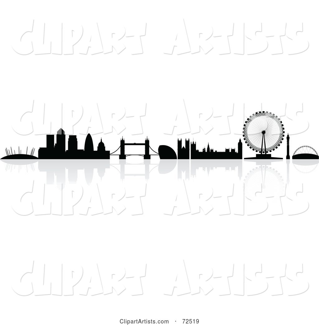 The Silhouetted London Skyline with a Reflection