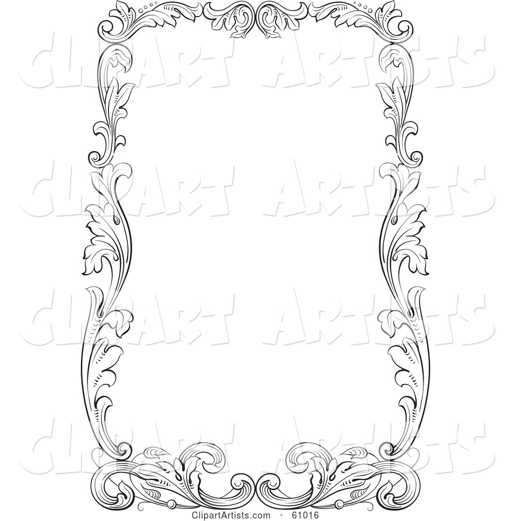 Thick Black and White Leafy Scroll Border Around White