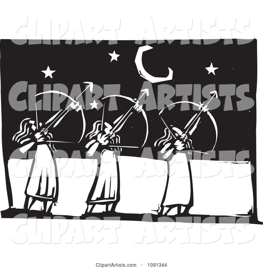 Three Female Archers Aiming at the Stars Black and White Woodcut