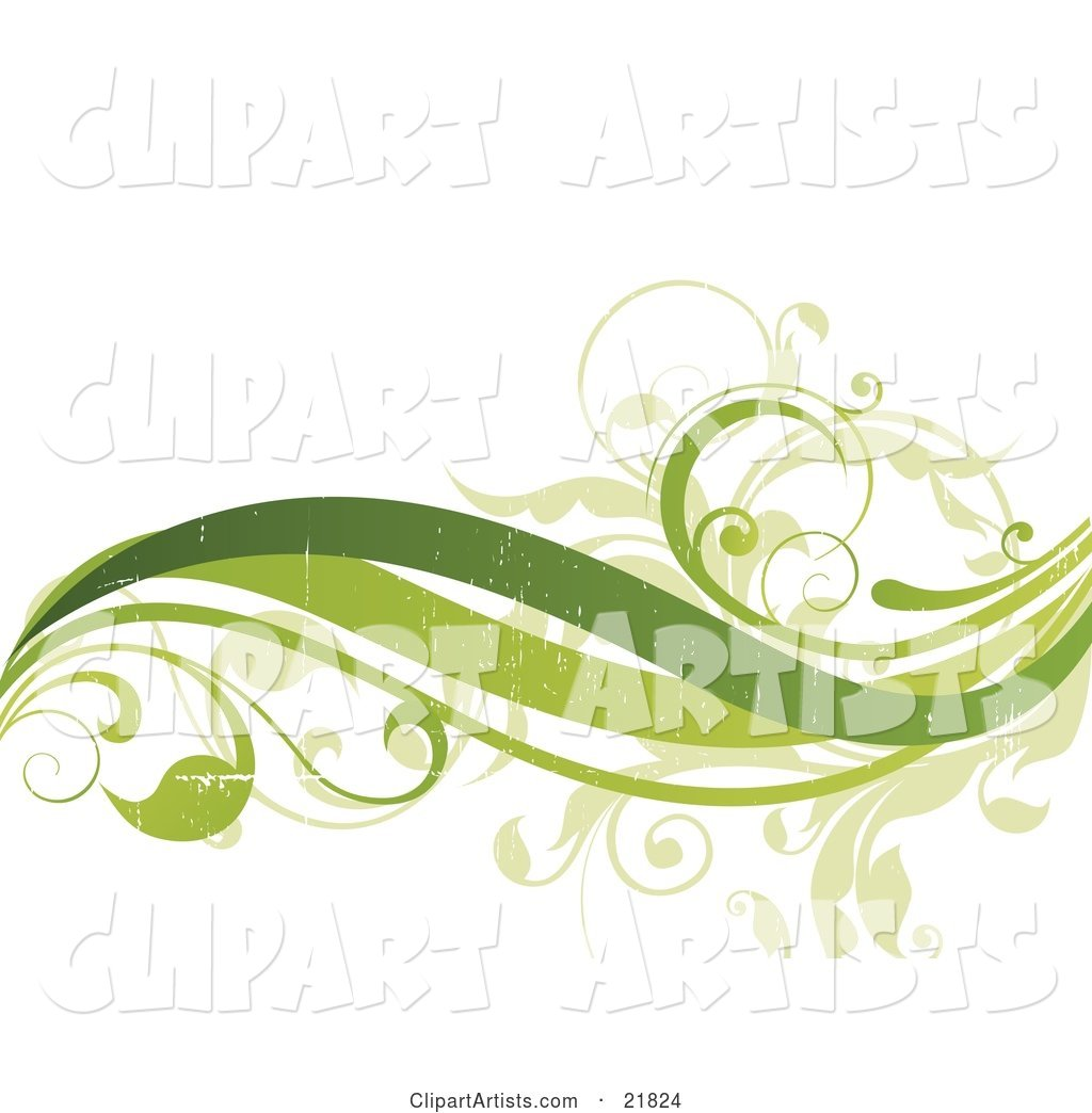 Three Green Waves and Leafy Vines with Fading Texturing on a White Background