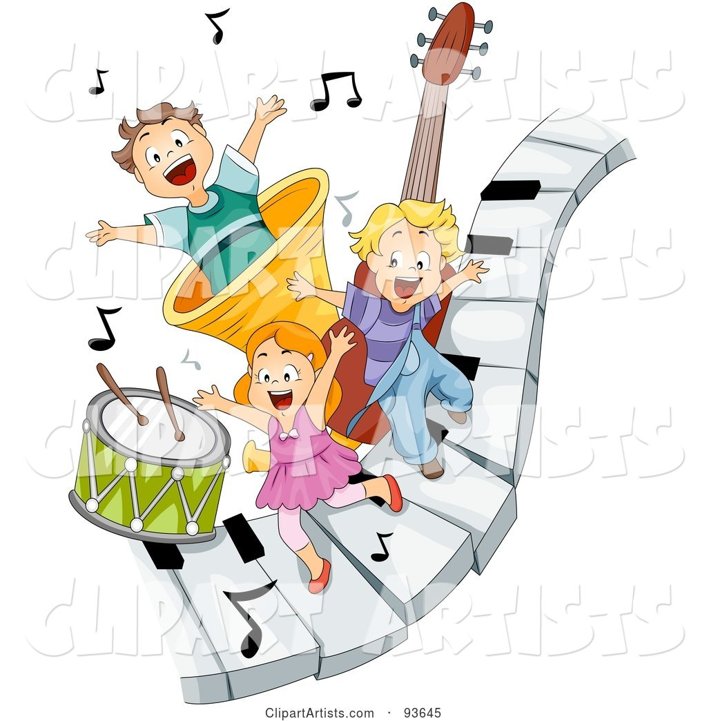 Three Happy Kids on Piano Keys with Music Notes and Instruments