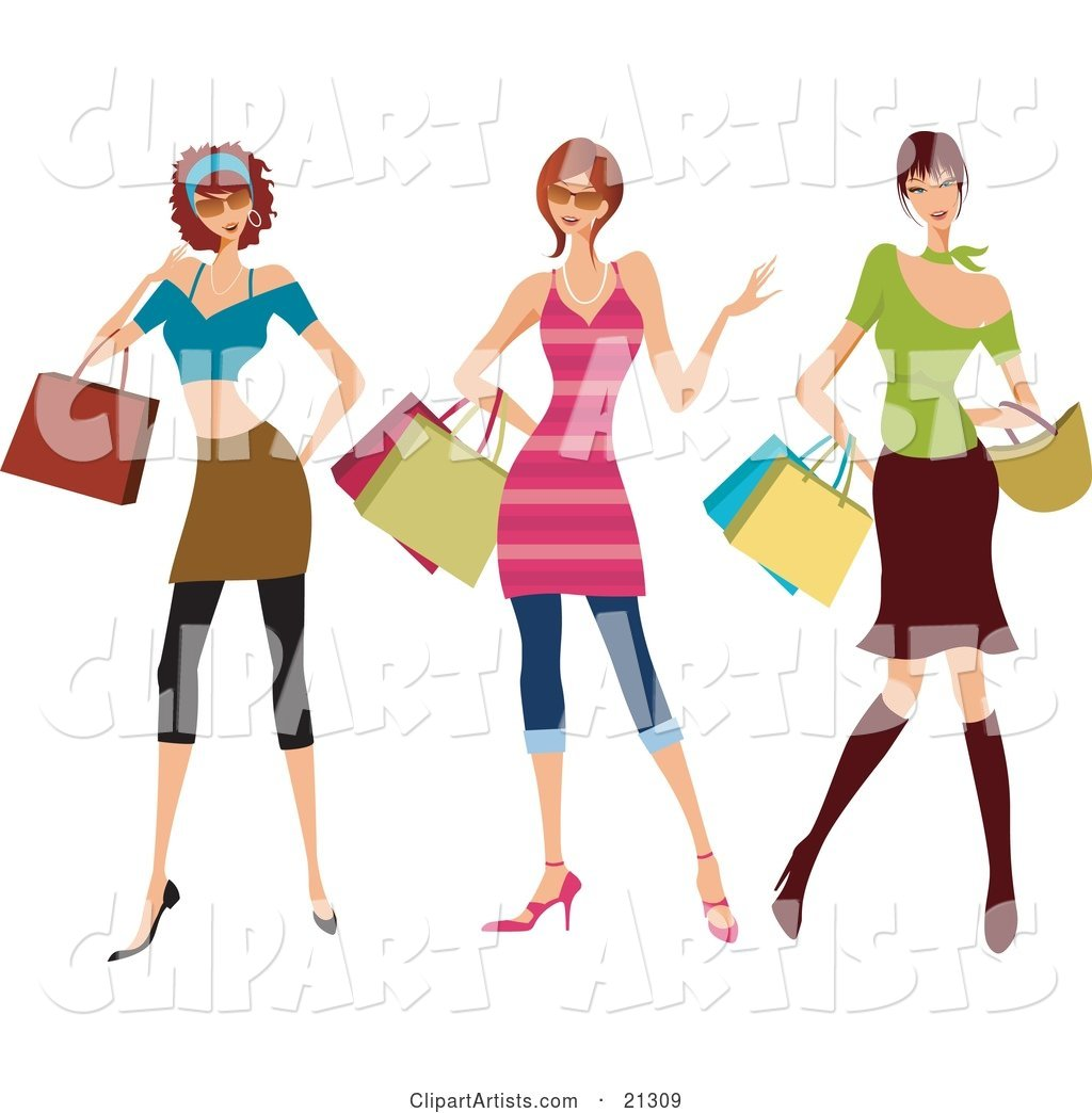 Three Young Sassy Caucasian Women Wearing Fashionable Clothes, Carrying Shopping Bags and Purses and Shopping at the Mall