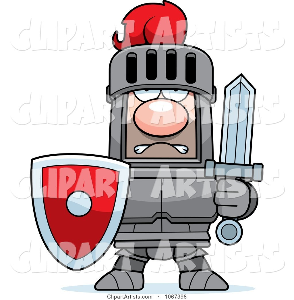 Tough Knight in Red and Gray Armor