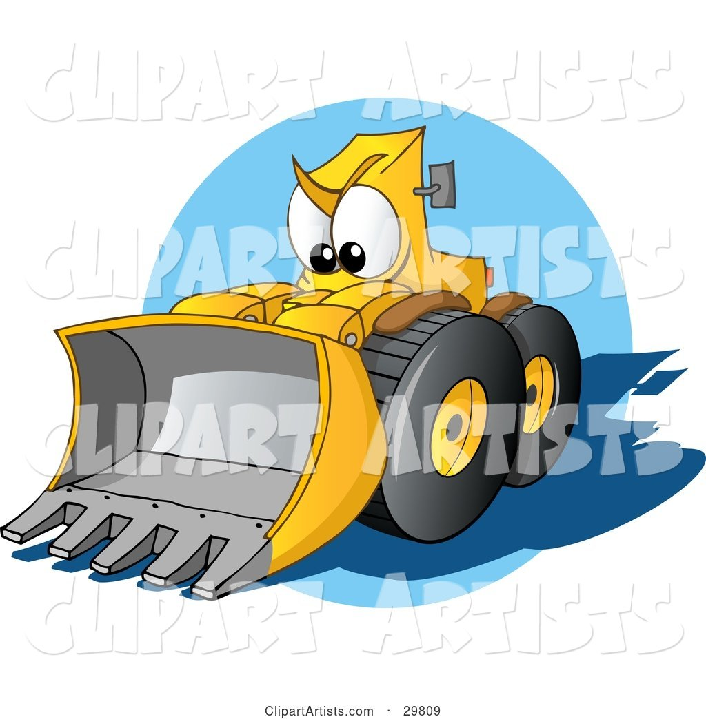 Tough Yellow Bulldozer Character with a Loader, Moving Forward