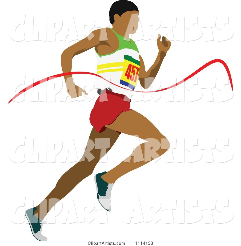 Track Man Running Through a Ribbon