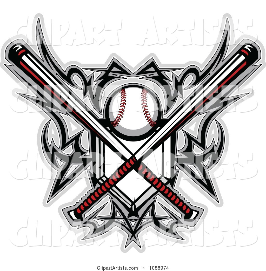 Tribal Baseball Home Plate with Crossed Bats and Designs