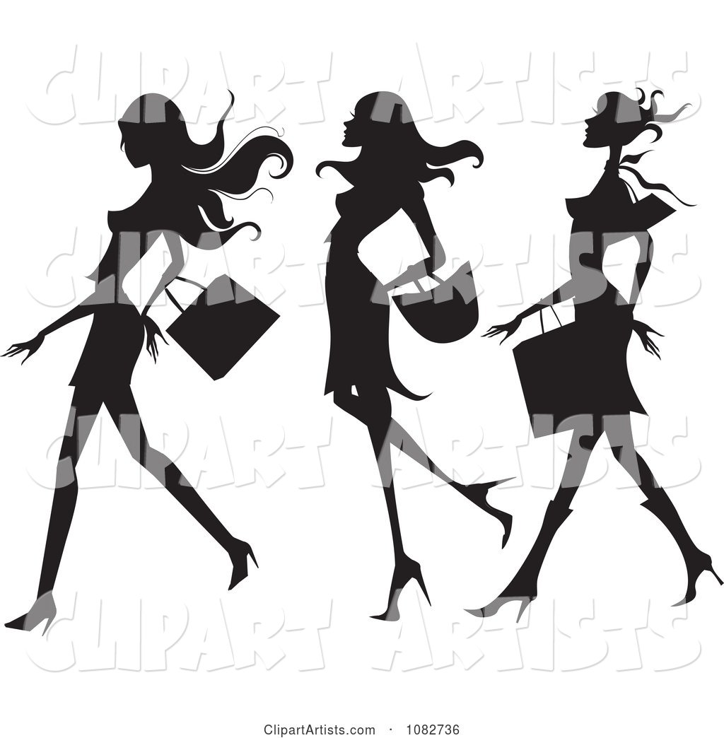 Trio of Silhouetted Fashionable Ladies Shopping