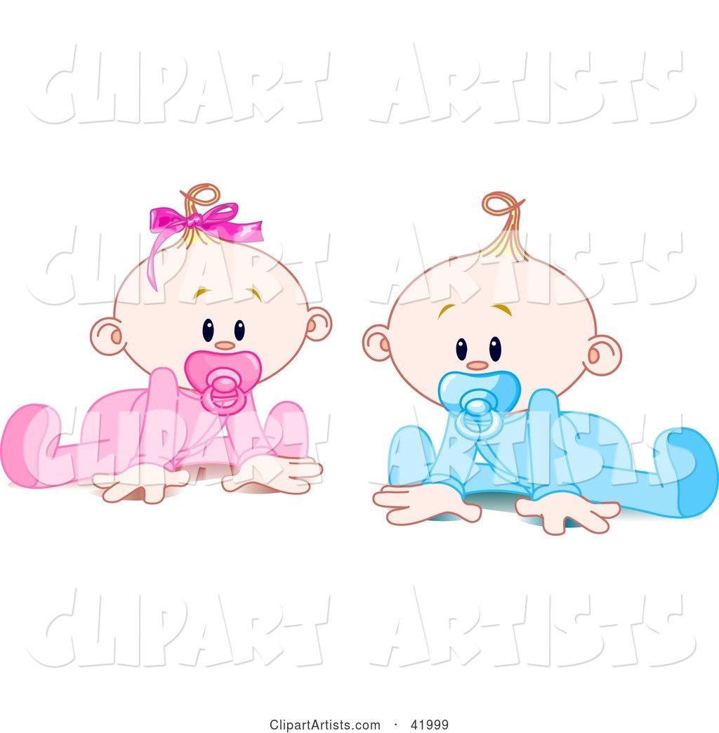 Twin Baby Boy and Girl with Pacifiers, Trying to Crawl