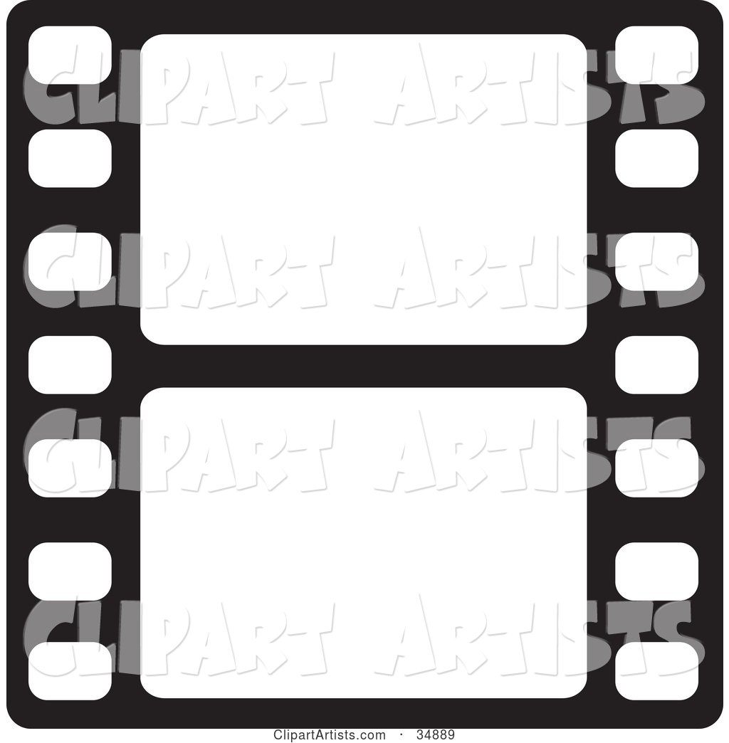 Two Blank White Frames of a Film Strip