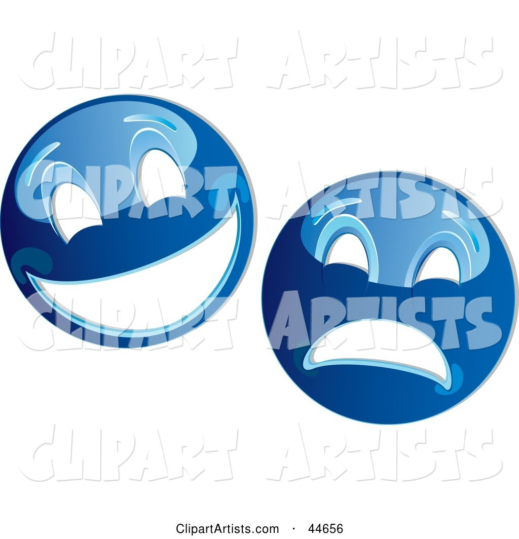 Two Blue Theater Mask Emoticons