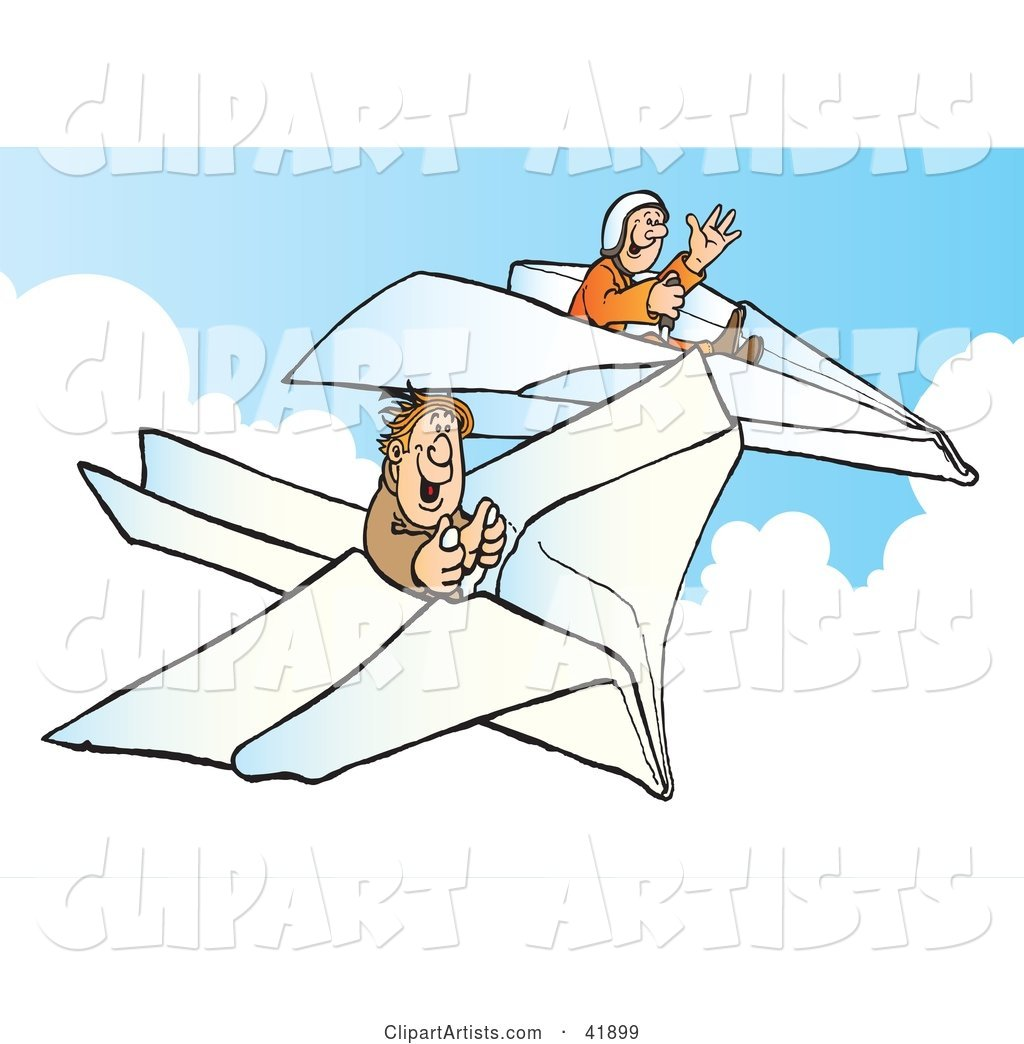 Two Happy Pilots Flying Paper Planes in the Sky