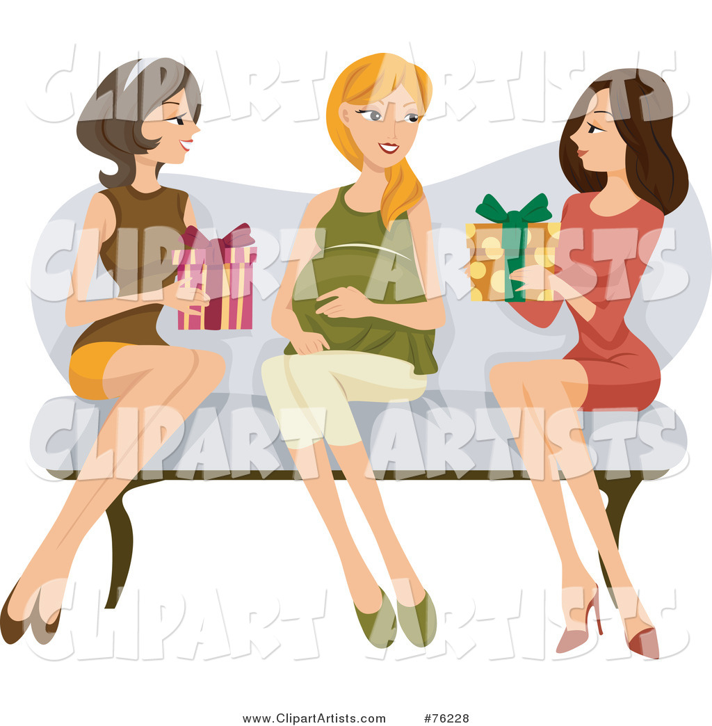 Two Ladies Sitting on a Couch with Their Pregnant Friend, Giving Her Presents at Her Baby Shower