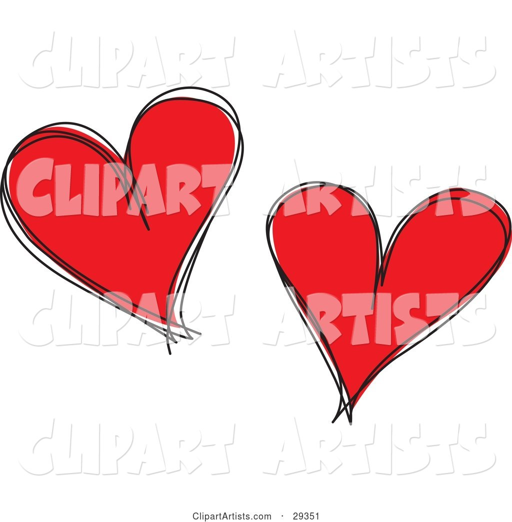 Two Red Hearts with Black Sketched Outlines, on a White Background