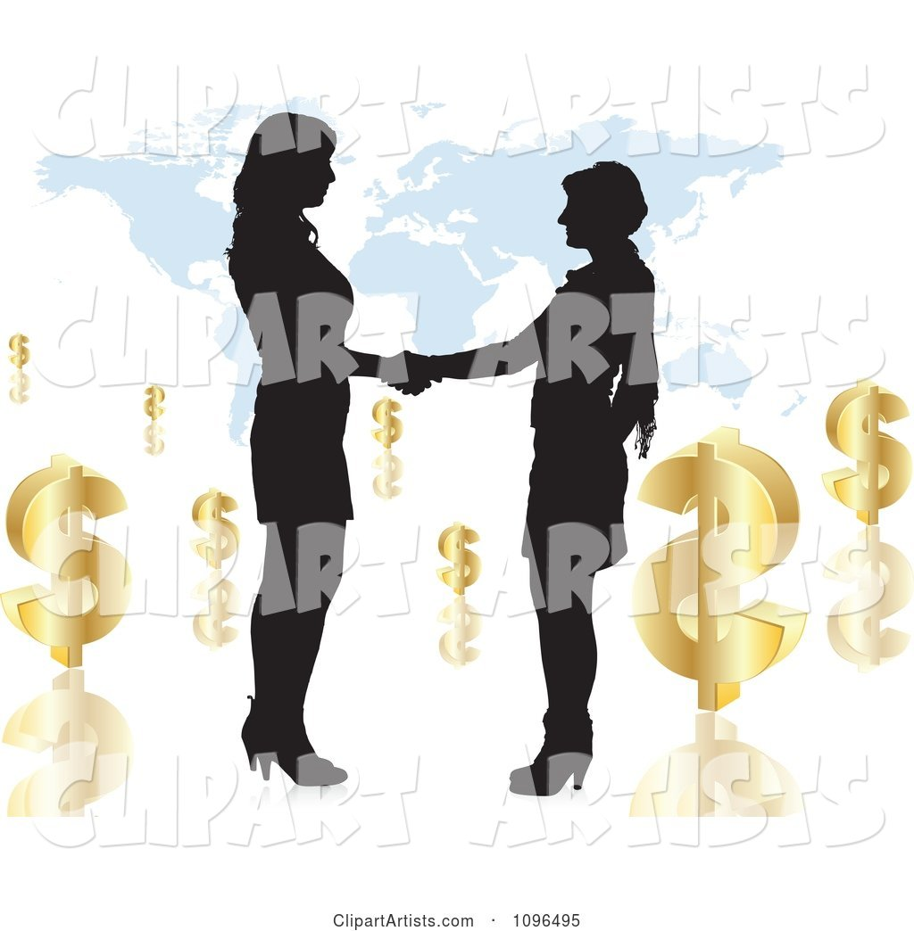 Two Silhouetted Business Women Shaking Hands over a Map with Dollar Symbols