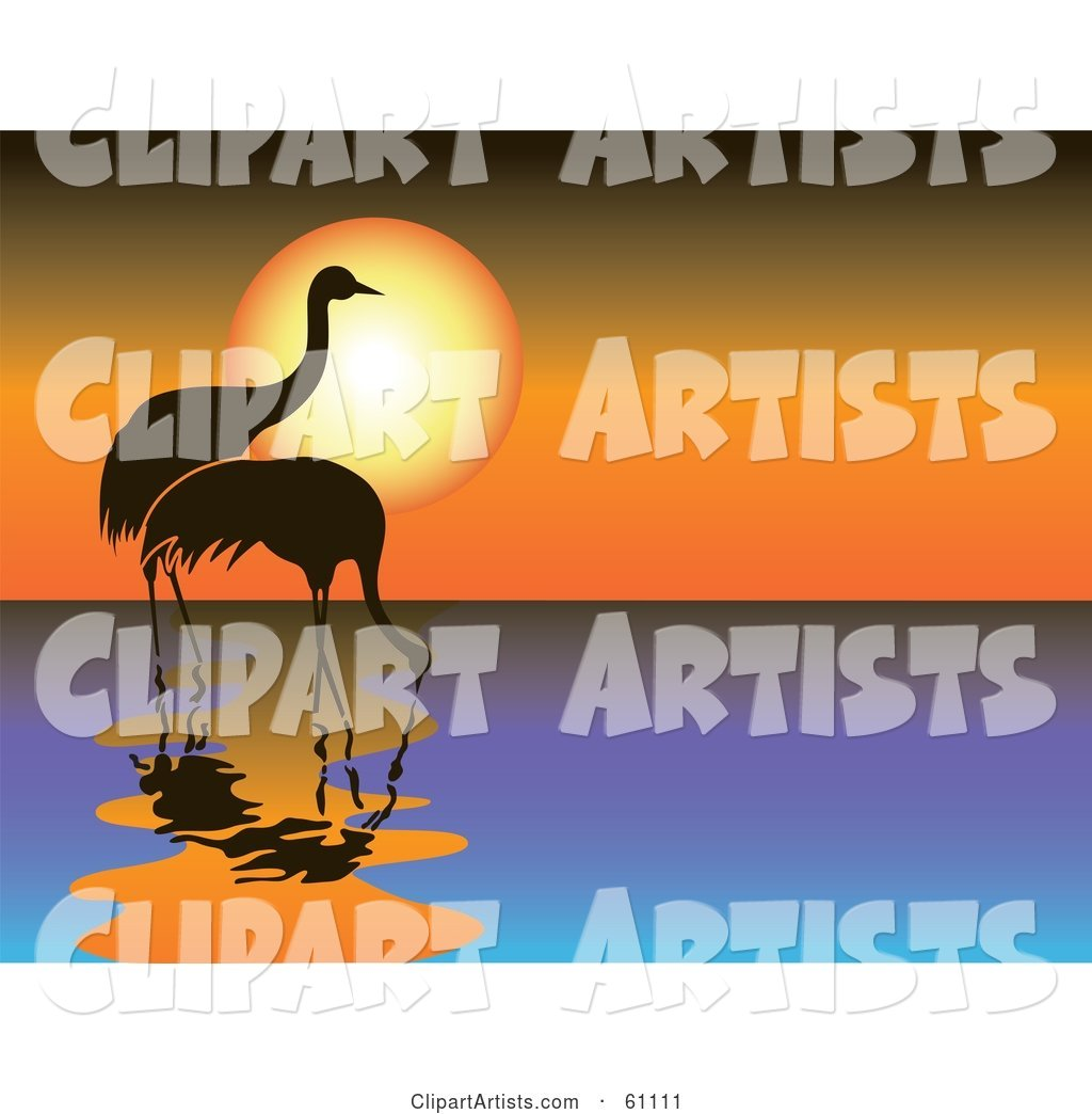 Two Silhouetted Cranes Wading in Water Against an Orange Sunset