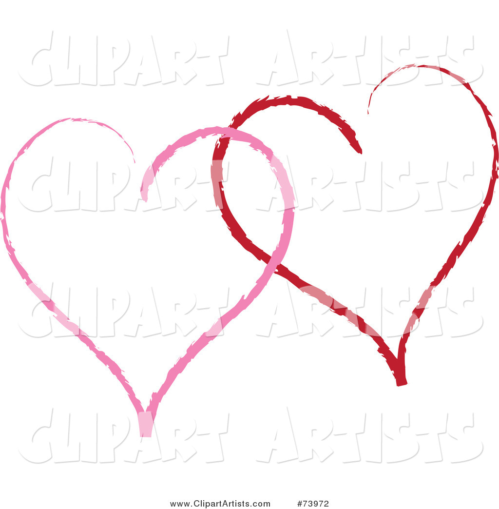Two Sketched Red and Pink Heart Outlines