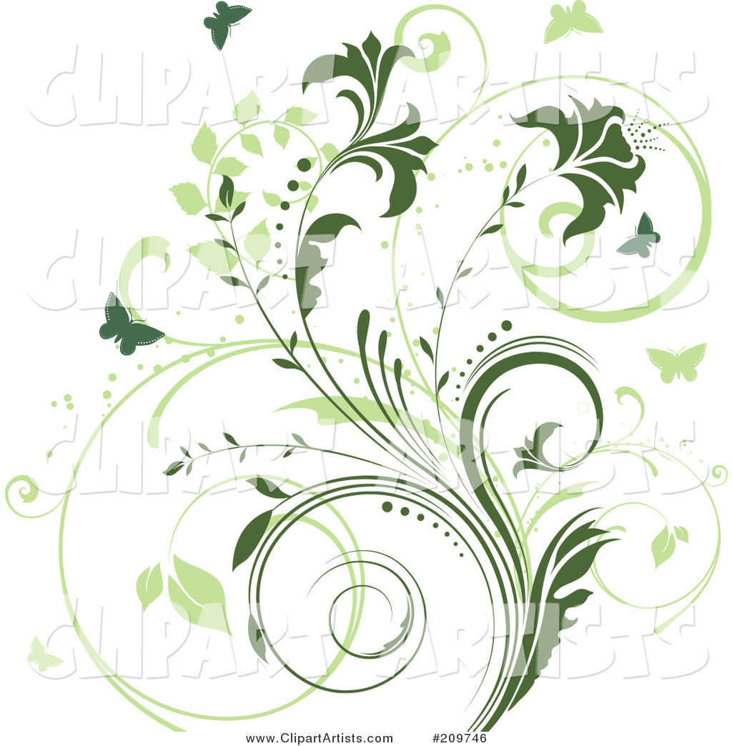 Two Toned Green Vine and Butterfly Background on White