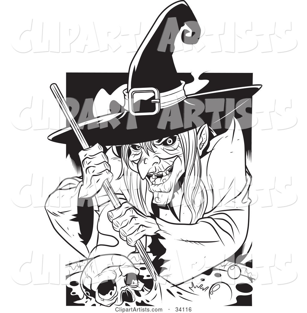 Ugly Warty Witch Grinning While Stirring a Skull and Potion in a Spell Cauldron