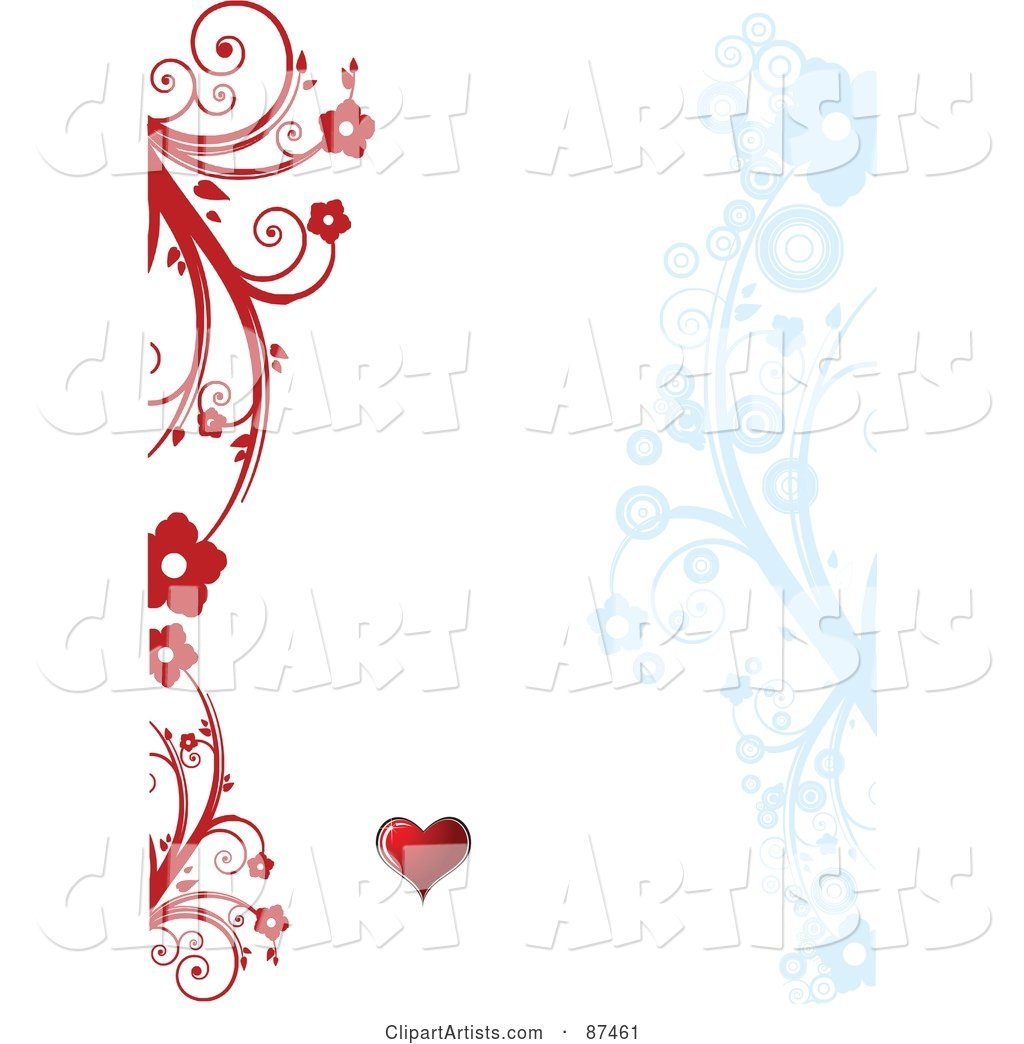Valentines Day Background with Red and Blue Floral Vines and a Heart on White