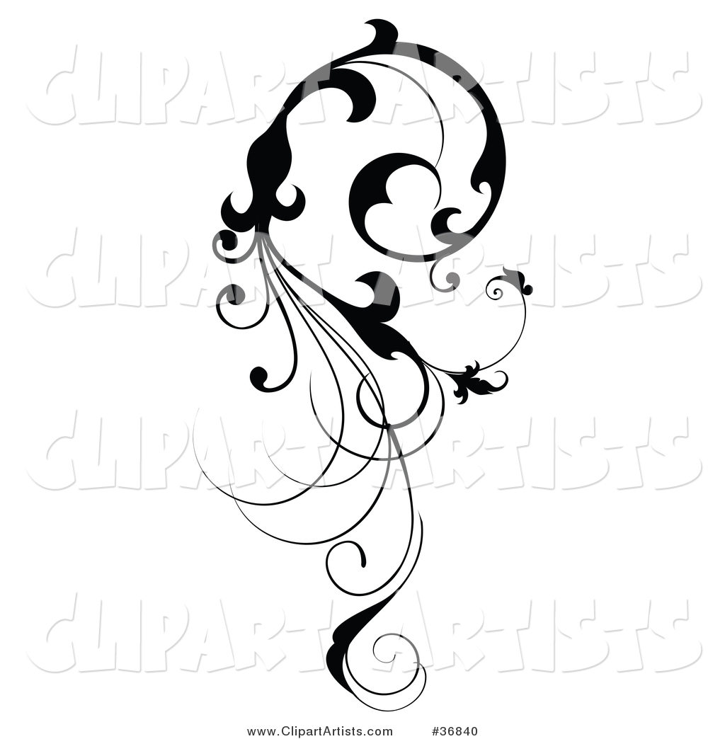 Vertical Black Silhouetted Scroll Vine Design Element